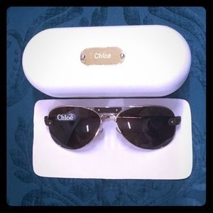 Chloé Round Aviator Frame Leather Trim Sunglasses